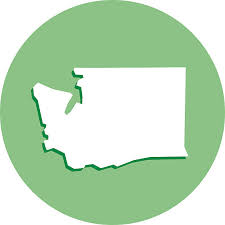 Graphic: a solid green circle with the general shape of Washington State stamped in white in the middle.