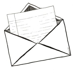 Black and white sketch image of a envelope with a letter sticking out.