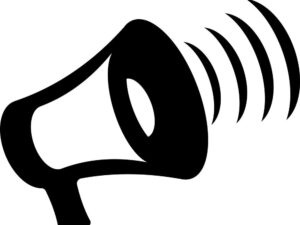 Cartoon image of a megaphone with soundwaves.