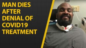 """Split image with a diagonal yellow line separating the images. On the left, yellow text reads, """"Man Dies After Denial Of COVID-19 Treatment."""" On the right, a picture of Michael Hickson, a black disabled man sitting up in his wheelchair, as he smiles at the camera. He is wearing a gray shirt and his tracheotomy appears around his neck."""