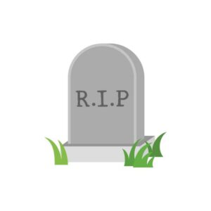 """Graphic: headstone with """"R.I.P"""" in the center and blades of grass surround the headstone."""