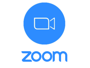 """Image of the Zoom logo, which is a blue filled circle that has a white outlined camera in the middle and the word """"zoom"""" below the circle."""