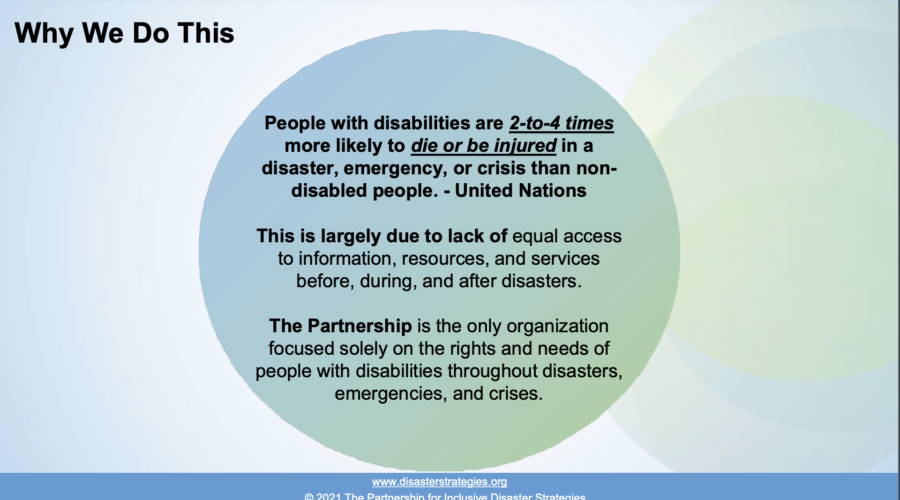 "Slide title reads: ""Why We Do This"" on the top left of the slide. Text in a circle that reads: ""People with disabilities are 2-to-4 times more likely to die or be injured in a disaster, emergency, or crisis than non-disabled people. - United Nations This is largely due to lack of equal access to information, resources, and services before, during, and after disasters. The Partnership is the only organization focused solely on the rights and needs of people with disabilities throughout disasters, emergencies, and crises."""